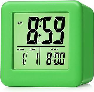 Plumeet Easy Setting Digital Travel Alarm Clock with Snooze,Soft Nightlight,Large Display Time & Month & Date & Alarm, Asc...