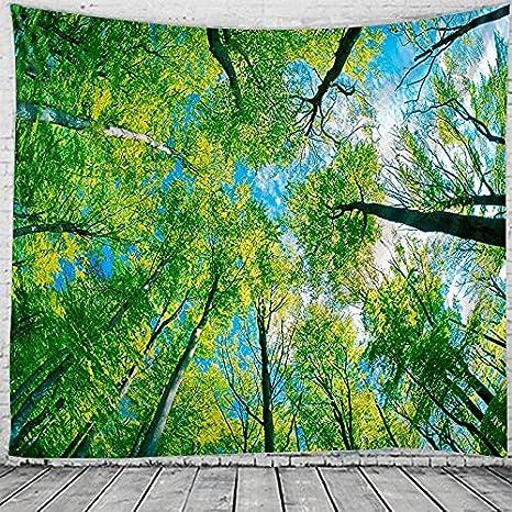 PPOU Tapiz con Estampado de Plantas forestales, Tapiz de Mandala de Montaje en Pared, Tapiz Hippie Bohemio, Manta de Tela para Colgar, A3 100x150cm