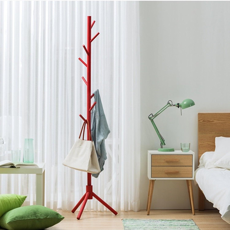 ZHIRONG Coat Rack Floorstanding Solid Wood 8 Hooks Hangers 175  45CM (color   RED)
