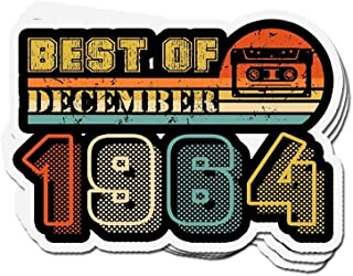 shopdoz 3 PCs Stickers Classic 1964 Vintage Best of December Cassette 55 Year OId 3×4 Inch Die-Cut Wall Decals for Laptop Window