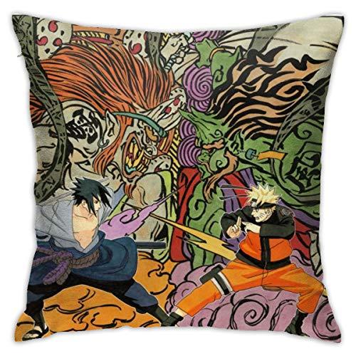 CVDGSAD Naruto Shippuuden Uzumaki Naruto Masashi Kishimoto Uchiha Sasukemanga Sketchartworkninjas Funda de cojín decorativa rectangular de 45,7 x 45,7 cm