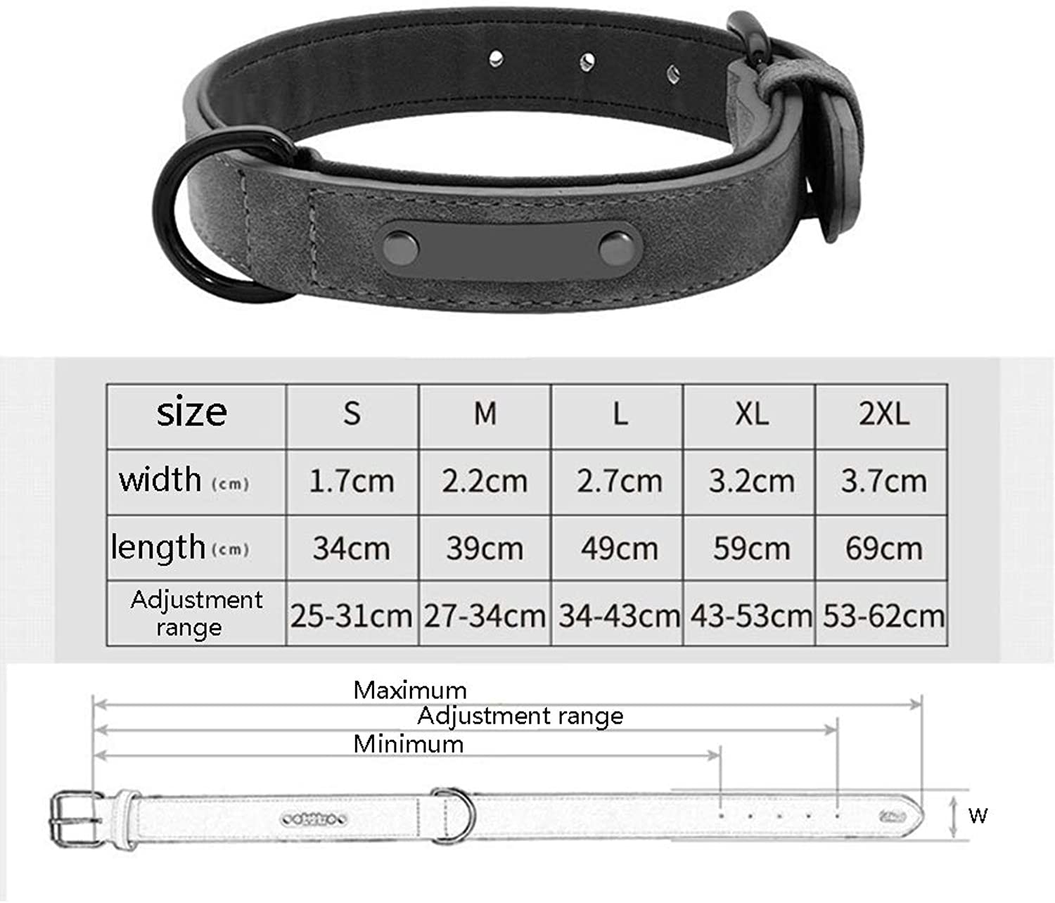 Fashion Leather Soft&Cozy Adjustable Padded Pet Collar Set,Create Your Own Name, Adjustable Dog Collar + Pet Leads 2562cm (color    5, Size   L)