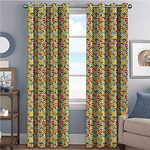 Price comparison product image Colorful 85%-95% blackout lining curtain Scandinavian Leaves and Flowers Pattern with Rainbow Colors Classic Floral Design Full shading treatment kitchen insulation curtain W52 x L45 Inch Multicolor