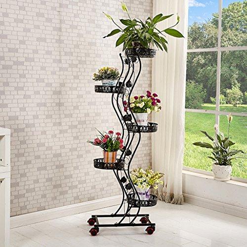 Tie - Style Wheel Flower Stand Floor - Style Flower Frame de lit Salon Balcon Shelf 5 Couches (47 * 143cm) (Couleur : Noir)