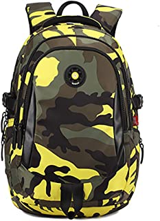 Onirii School backpack For Girls Boys Bookbags Outdoor Dayback Camo Large Yellow