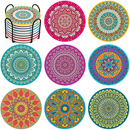 InnoGear Coasters for Drinks Moisture Absorbing Stone Mats Heat-Resistant Reusable Coaster with Cork Base and Holder for Drinks Gift Set for Birthday Housewarming Apartment Kitchen Bar Décor