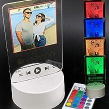 Lampada led personalizzata con foto e codice spotify multicolore placca targa con dedica della canzone
