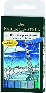 6 Pack Set of Shades of Blue Faber Castell Pitt Artist Pen