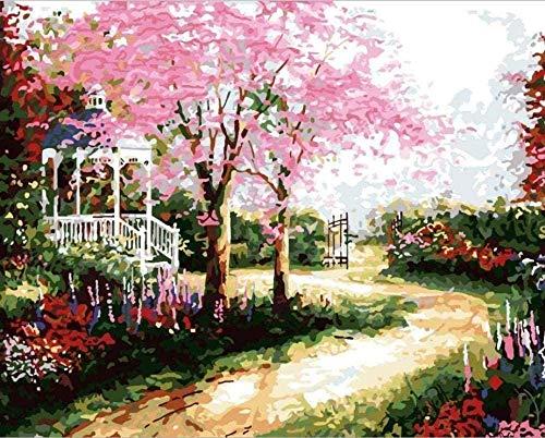 GEZHF - Pintura por números para niños, jardín, kiosco, paisaje, manualidades, pintura al óleo con lienzo preimpreso, con pinceles y pigmentos acrílicos, 16 x 20 pulgadas (sin marco)