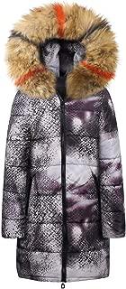 Mlide Womens Starry Sky Print Padded Coat,Fur Collar,Winter Long Down Cotton Parka Snake Print Hooded Jacket Outwear