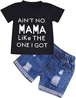GRNSHTS Baby Boy Letter Clothes Summer Short Sleeve Tops Denim Pants Shredded Jeans Outfit