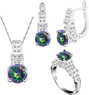 Aixili Rainbow Jewelry Sets for Women 925 Silver Stamped Necklace Pendant Hoop Earrings Ring Bridal Wedding Jewelry