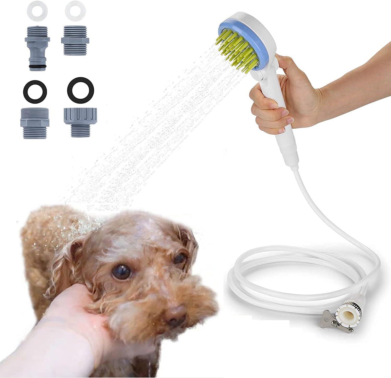 MTSLYH Dog Shower Sprayer, Pet Dog Shower Attachment w/Hose, 2-in-1 Dog Water Sprinkler Massaging Brush w/Scrubber