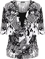 Authentic & Original Only From WearAll Length 72cm Cowl Neckline Abstract Monochrome Print 3/4 Length Sleeve