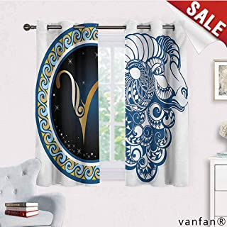 Big datastore Kids Blackout Curtains Grommet,Zodiac,Astrological Aries Symbol with Horned Head Ram Goat Animal Terrestrial Event Image,for Nursery/Girls Roommulticolor,W55 Xl72