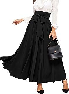 Women's Elegant High Waist Skirt Tie Front Pleated Maxi...