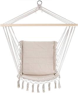 Detex Silla Colgante Color Crema de 55 x 100 cm Hamaca con cojin Incluido para Interior y Exterior decoración Cuerdas