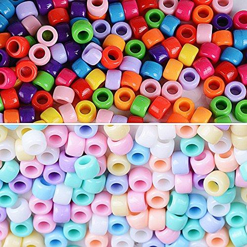2000pcs Cuentas Abalorios de Colores Acrílico Granos de Espaciador Perla Plástico Mezcla para Manualidades Bricolaje DIY Regalo Cadena Collar Joyas (8,3x6mm)