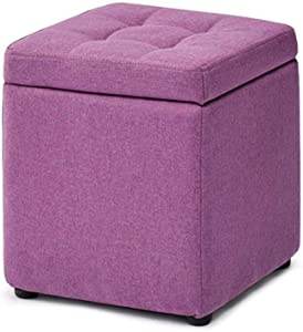 Footstool Folding Cube Stool Storage Box Seat Removable Linen Cover for Makeup Stool Child Stool Bed Stool Sofa Stool 30x30x35 (Color : Purple)