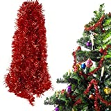 BHGT 6 Tiras Espumillón de Navidad 12Metros Guirnaldas Colgantes árbol de Navidad Adornos Navideños Manualidades Decoración Fiesta Rojo