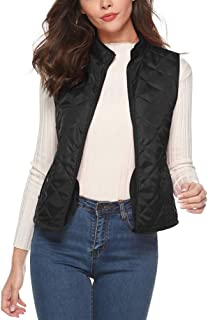 Deerludie & T Women Stand Collar Padded Vest Lightweight Zip Quilted Gilet White S(US 4-6)