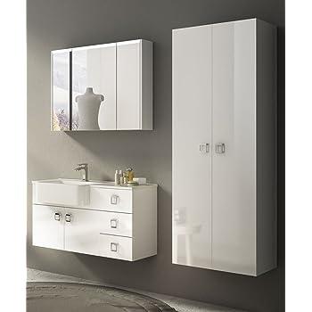Mobile Bagno Sospeso Moderno Florida Bianco Lucido Misura Cm 100 Con Specchio Lavabo E Colonna Amazon It Casa E Cucina