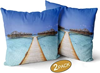 Nine City Overwater Bungalows Boardwalk Theme Pillow Cases Set of 2,141254 Sofa Bed Throw Cushion Cover Decoration,18