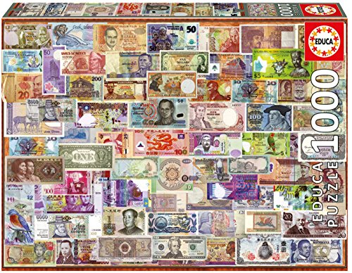 Educa - Genuine Puzzles, 1.000 piezas, Billetes del mundo (17659)