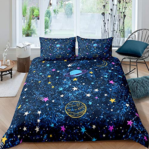 Loussiesd 3D Galaxy Duvet Cover Kids Boys Outer Space Theme Bedding Set Cartoon Planets Stars Comforter Cover Universe Starry Sky Bedspread Cover Bedroom Collection 3Pcs Double Size