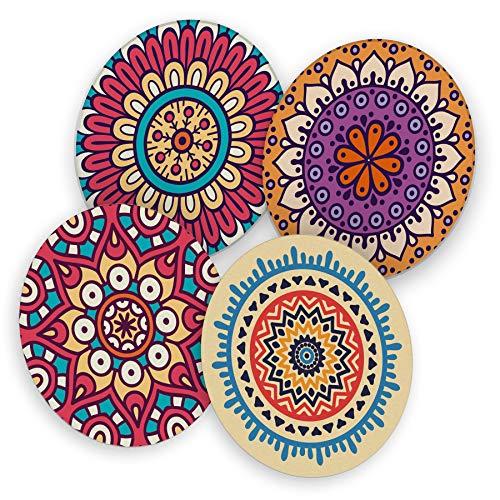itenga 40x Bierdeckel Untersetzer aus Pappe I Mandala I Bunt I rund, Ø 10,7 cm I ideal als Untersetzer bei Anlässen und Festlichkeiten