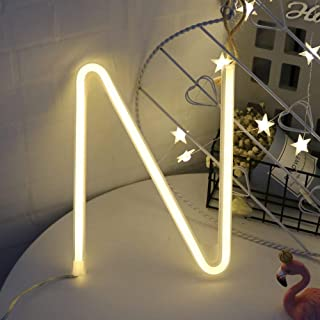 Neon Letter Light GUOCHENG LED Letter Light Alphabet Lamp Decor Light Bar Sign Home Decoration Battery and USB Operated for Party Wall Decoration Birthday Christmas Wedding Day Gifts (N)