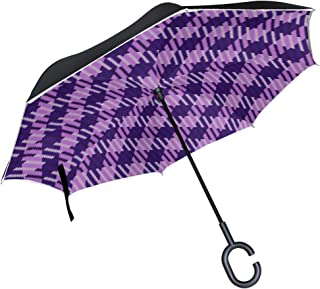 Clear Umbrella Tartan Geometric Plaid Pattern Straight Inverted Umbrella Double Layer Protection Car Travel For Girls Kids With C-shaped Handle Rain Umbrellas