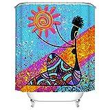 Fangkun Duschvorhang-Set für Badezimmer, Kunstdekor, Afrikanische ägyptische Frau, Sonne gemaltes Design, Polyestergewebe, wasserdicht, 12 Haken, 183 x 183 cm