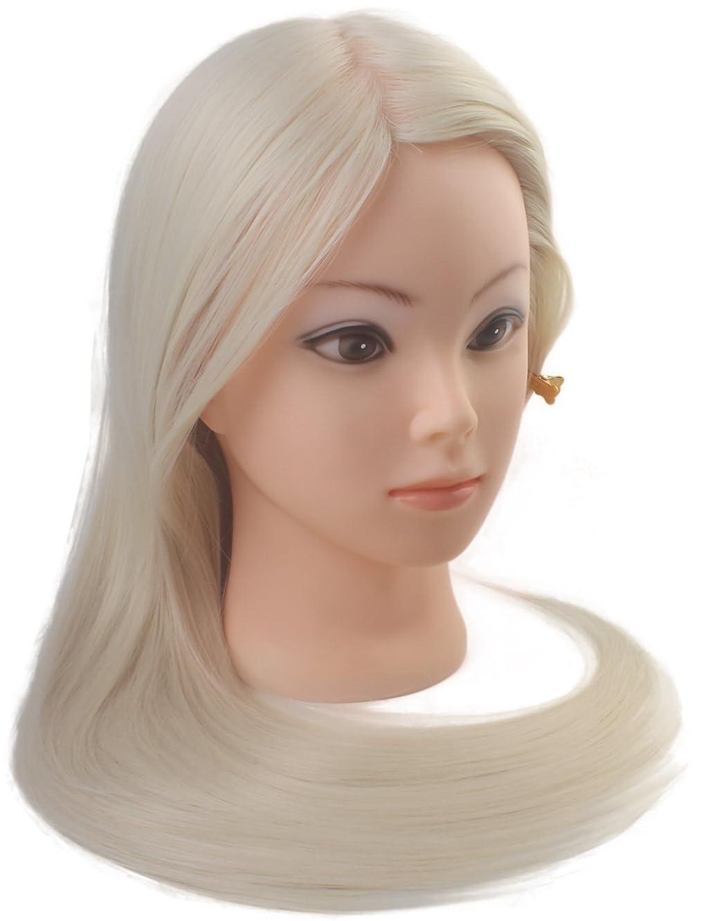 カポック可聴変化するヘアメイク実践トレーニング美容マネキンヘッド100%人工毛ーブロンドヘア60.96センチ