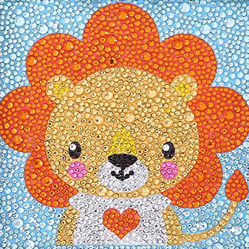 VVEEWUU 5D Diamond Painting by Number Kit Full Drill DIY Rhinestone Embroidery Mosaic Making Supplies for Kids Gifts (Lion)