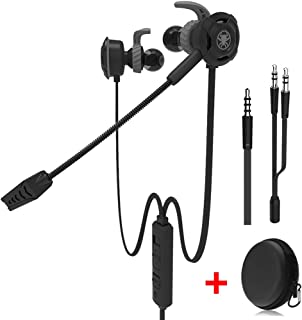 Wired Gaming Earphone with Adjustable Mic for PS4,Laptop Computer, Cellphone, DLAND E-Sport Earburds with Portable Earphone Bags, Snug Soft Design, Inline Controls for Hands-Free Calling. (Black)