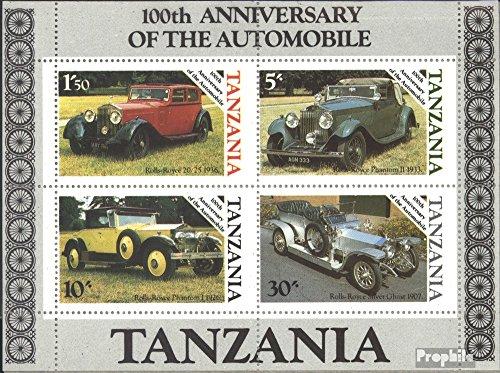 Prophila Collection Tanzania Block 53 (Completa Edizione) 1986 100 Anni Automobile (Francobolli per i Collezionisti) Traffico Stradale