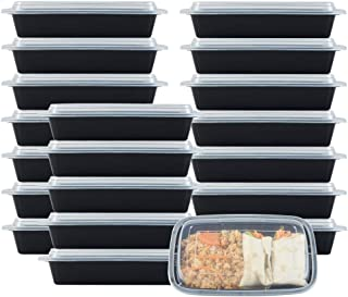 NutriBox [20 Value Pack] 1 Compartment with lids 28 OZ Meal Prep Plastic Food Storage Containers with lids- BPA Free Reusable Lunch Bento Box - Microwave, Dishwasher and Freezer Safe, Portion Control