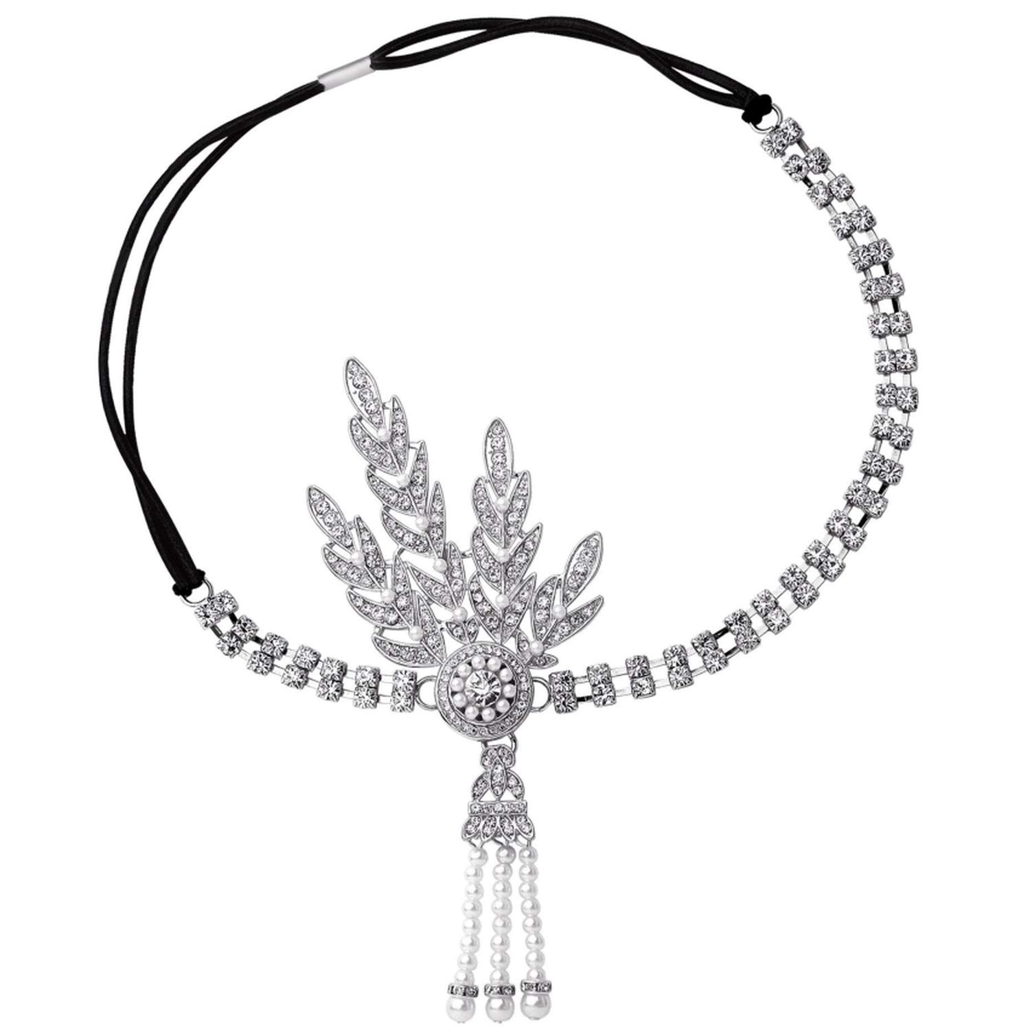 Vintage 1920S Great Headband Flapper Girl Fancy Party Costume Hair Accessories Stone Pearl Bridal Headpiece,Silver Tassel