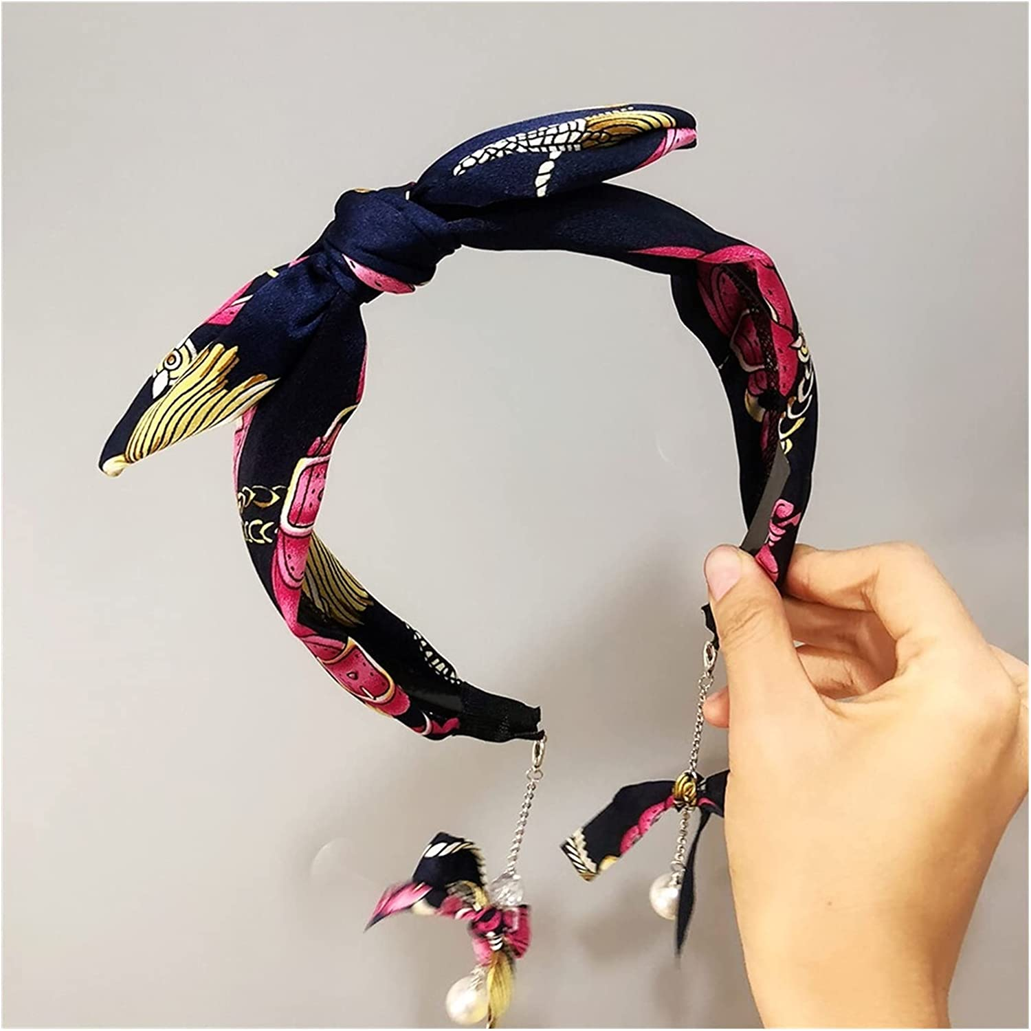 BOSAIYA Wide Version of The Satin Chain Wire Rabbit Ear Headband Wild Fake Earrings Bow Wide Hair Accessories (Color : D)