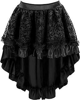 Charmian Women's Steampunk Retro Gothic Vintage Satin High Low Skirt with Zipper Black XXXX-Large