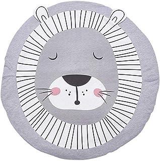 Yililay Babymattor lejontryck baby-matta karikatyr krypande matta runda sovmattor golvmatta för småbarn barnvård