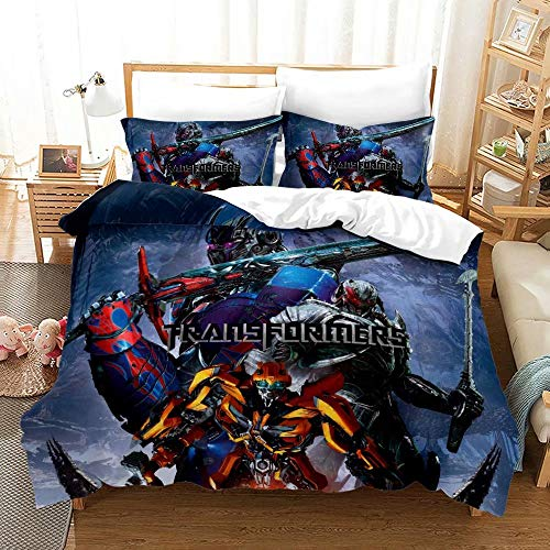 Supstar Transformers Kids Duvet Cover Sets 2 Pieces Twin Comforter Cover Set for Boys Bumblebee Decepticons Optimus Prime Bedding Set TB10