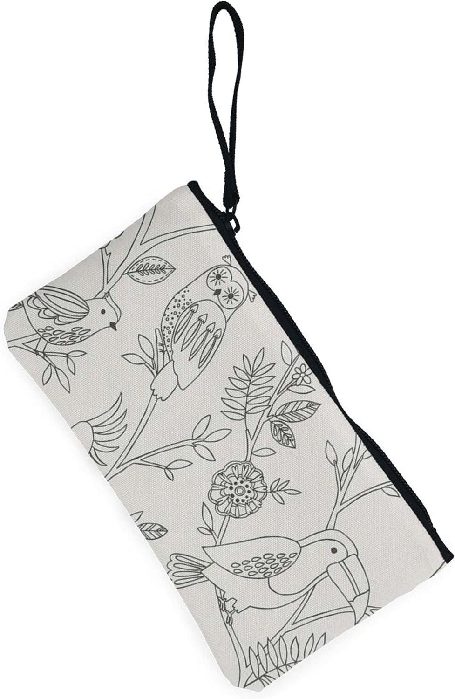 AORRUAM Owl and parrot Canvas Coin Purse,Canvas Zipper Pencil Cases,Canvas Change Purse Pouch Mini Wallet Coin Bag