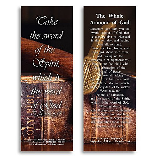 eThought BB-B049-25 Ephesians 6:17 The Whole Armor of God Bookmark Size Bible Verse Cards (Pack of 25), 2' x 6'
