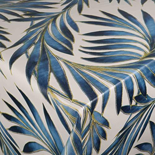 DecoHomeTextil Wachstuch Wachstuchtischdecke Gartentischdecke Größe wählbar Soft Touch Antik Palm Blau 80 x 140 cm Eckig abwaschbare Tischdecke