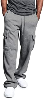 MakingDa Mens Warm Casual Cargo Trousers Winter Elasticated Waist Thermal Combat Pants Bottom with Multiple Pockets
