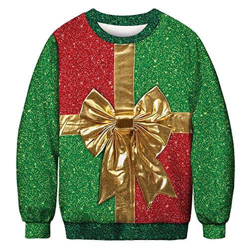CHIYEEE Unisex Hässliche Weihnachten Sweatshirts Frauen Gedruckt Kreative Rundhals Pullover Herren Langarmshirts XXL