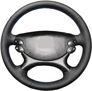 Funda para volante de coche de piel aut/éntica 38 cm negra para W203 W204 W205 Gla GLK GLC resistente al desgaste