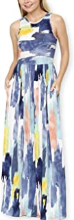 Women Summer Vintage Water Color Effect Print Dresses O-Neck Sleeveless Maxi Dress with Pocket